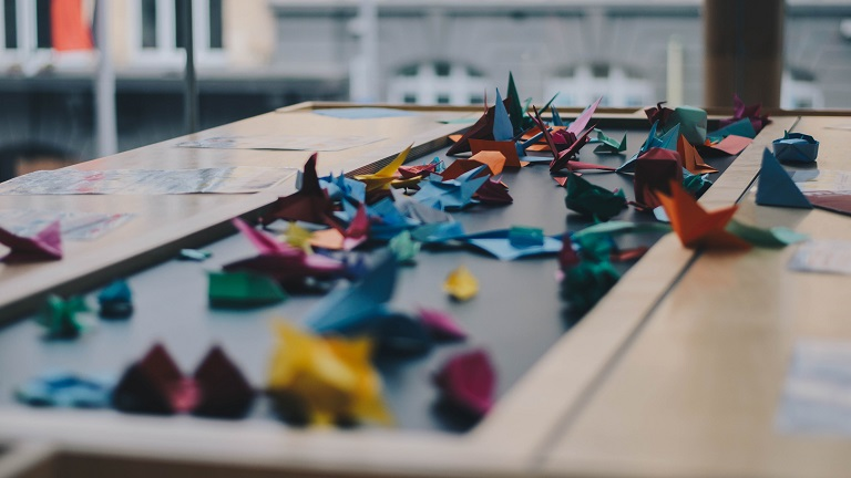 picture of origami on the table