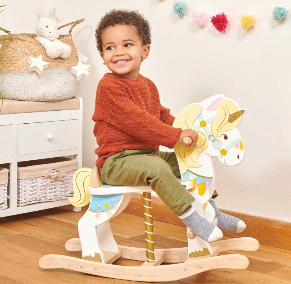 wooden toy unicorn