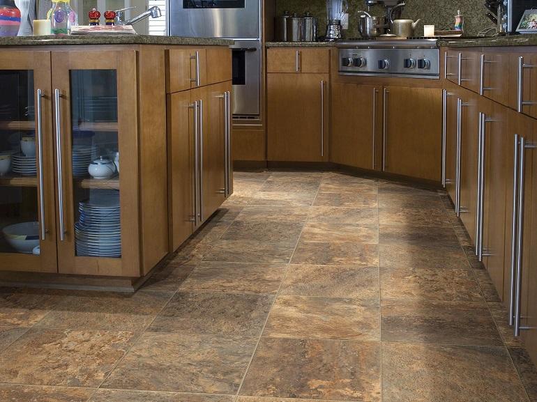 Close up of kitchen floor tiles
