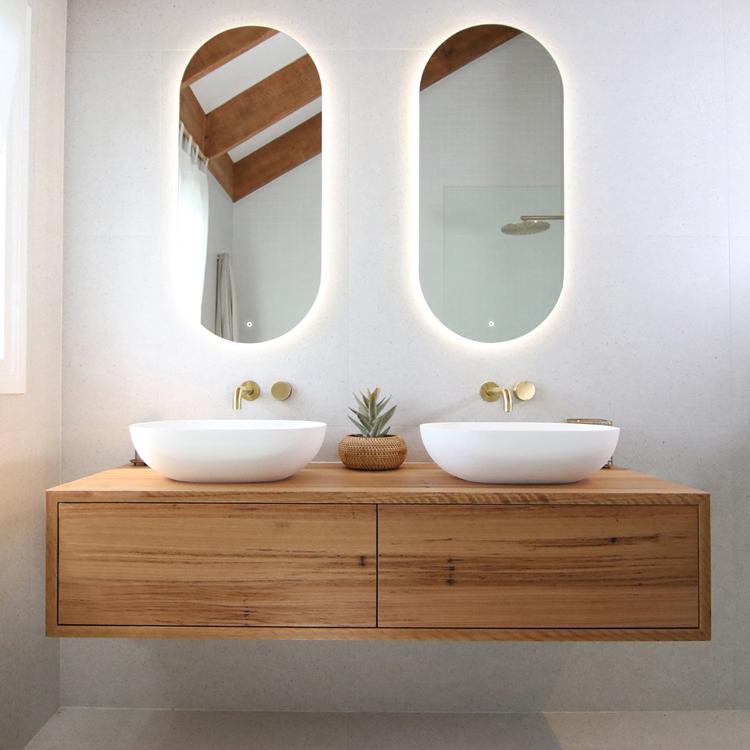 bathroom led light round mirrors