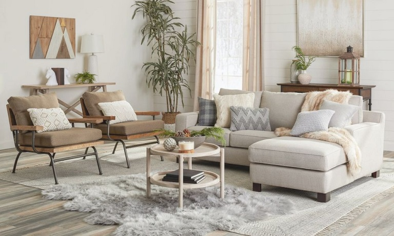 Modern rugs in a living room