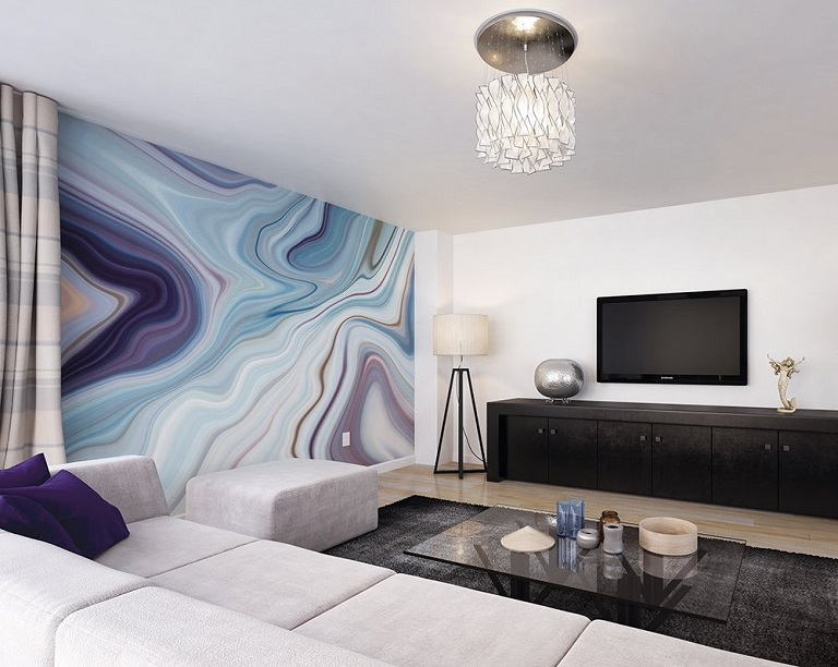 Wall mural in a living room