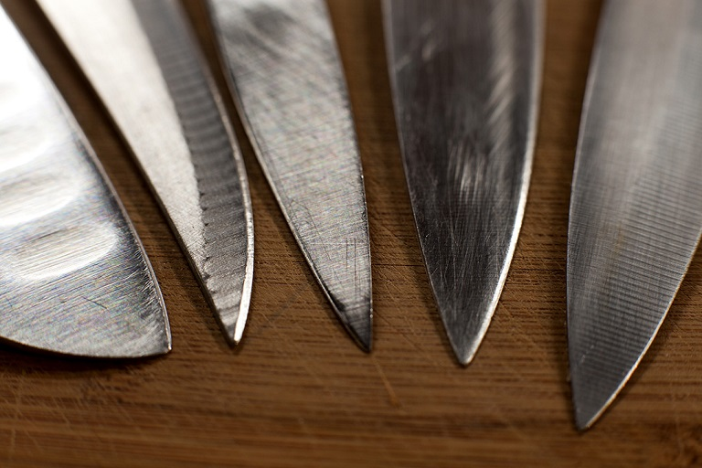 Carbon steel and stainless steel blades